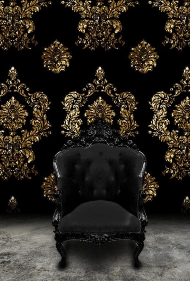 black & gold damask print wall with black boudoir throne. yes please.
