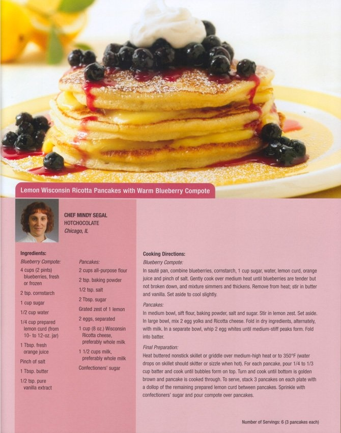 Lemon Wisconsin Ricotta Pancakes with Warm Blueberry Compote Recipe ...