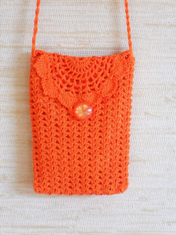 Crochet Bag Strap : Crochet wallet purse shoulder bag orange cotton pouch with long strap