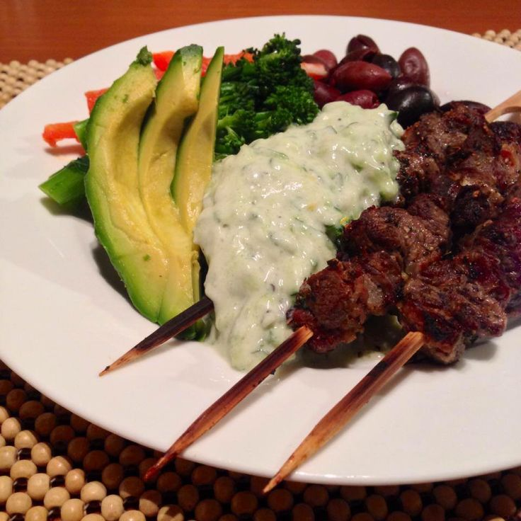 ... : Greek lamb skewers with veggies, olives and coconut yogurt tzatziki