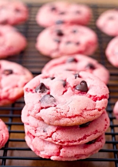 Pink chocolate chip cookies!! | Tipsy Chix Chocolate Fix | Pinterest