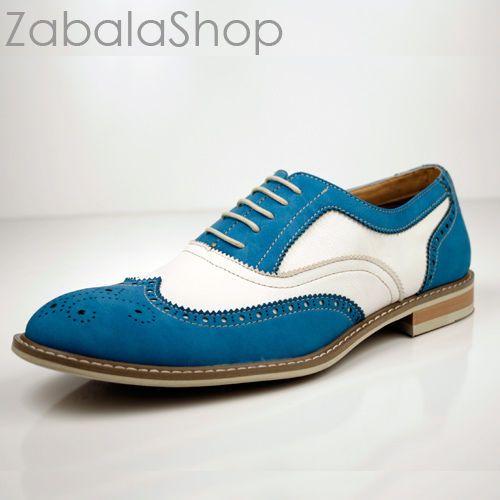Men fashion wingtip oxfords modern spectator style dress shoes sky bl