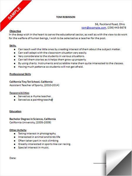 Sample Resume For Kindergarten Teacher] Sample Resume Template For