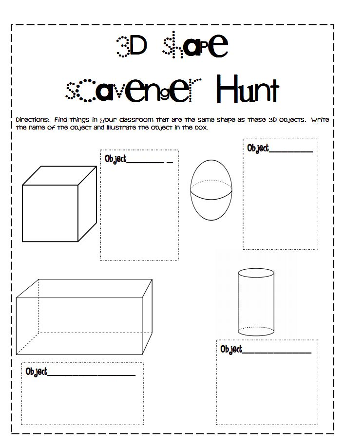 3D Shapes Scavenger Hunt.pdf | school | Pinterest
