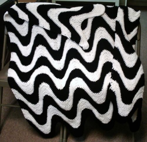 2 Color Exaggerated Ripple Afghan Throw Pillow Coasters Crochet Patterns | eBay