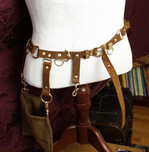 Steampunk belt bandolier w pocket pouch brass brown - Steampunk bett ...