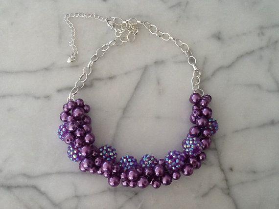 Bridesmaid statement necklaces : Purple sparkley statement necklace bridesmaid