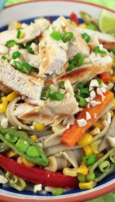 Thai Noodle Salad with Grilled Chicken ~ Noodles tossed with a ...