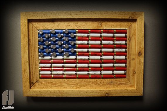 Shotgun shell american flag decor cedar framed for American flag decoration