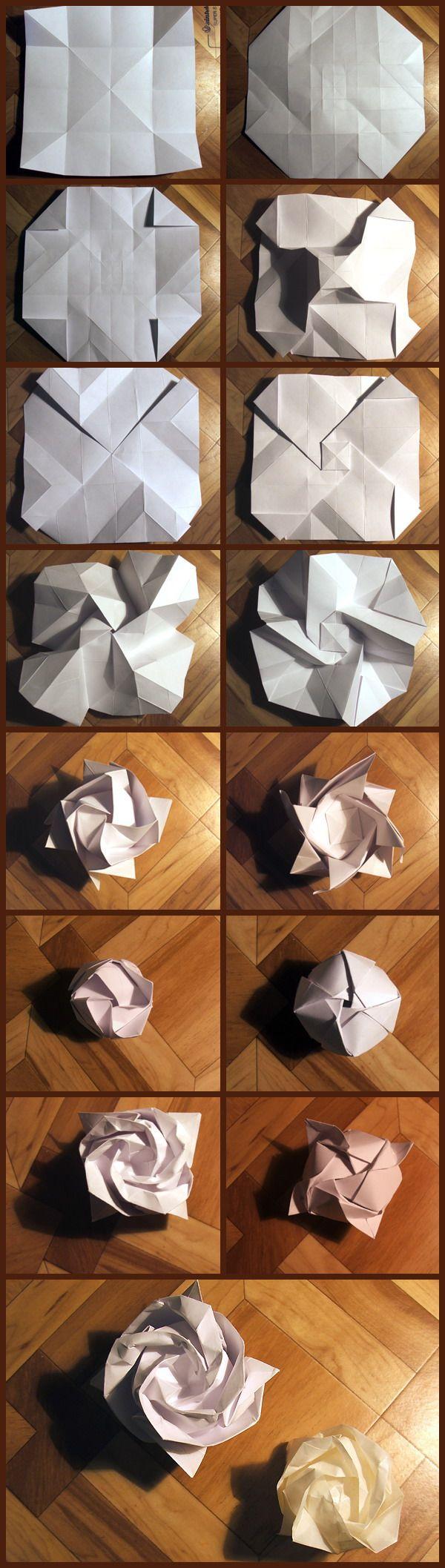 Как сделать оригами роза схема