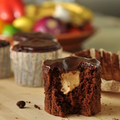 Peanut Butter Mousse Filled Chocolate Cupcakes with Chocolate Ganache ...