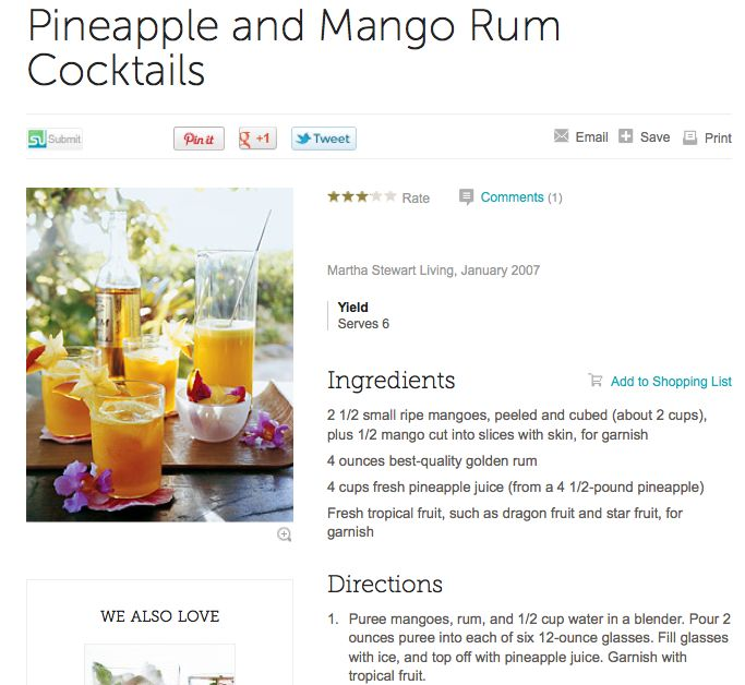 Pineapple and Mango Rum Cocktails | Drinks | Pinterest