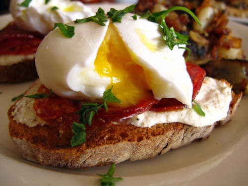 Poached Egg atop grilled Italian Bread with Ricotta & warm Sopressata