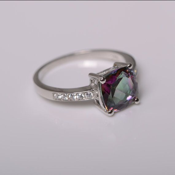 mystic topaz ring sterling silver ring engagement ring