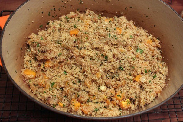 cous cous with butternut squash, apricots, and onions