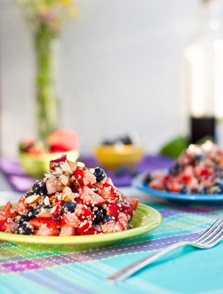 High Protein Quinoa Almond Berry Salad by ohsheglows