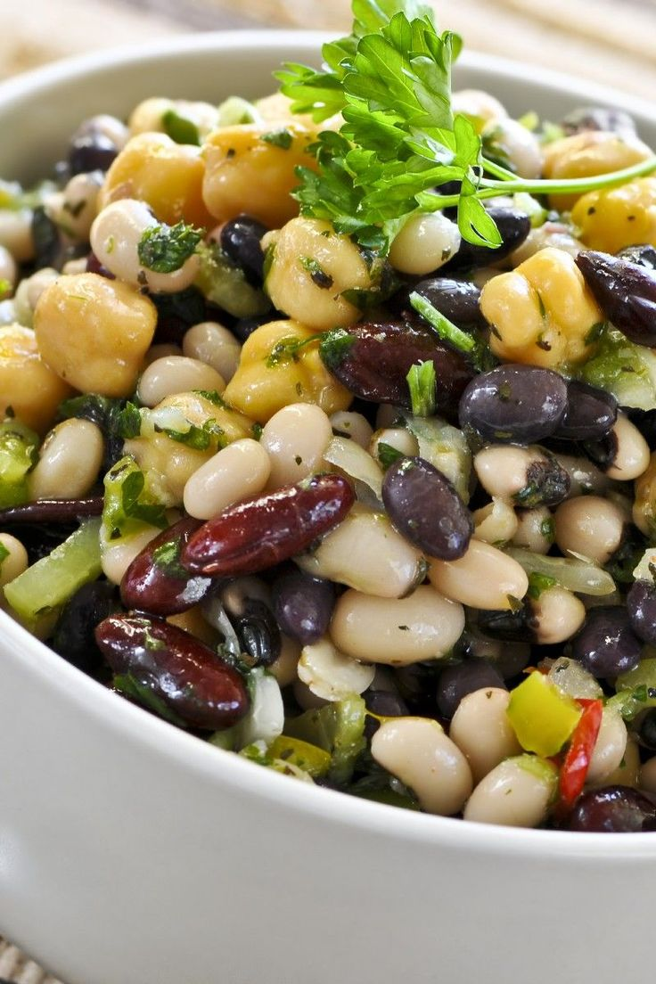 Mexican Bean Salad with Corn & Bell Pepper in a Lime Cilantro Vinaigrette