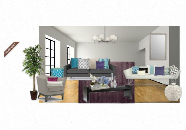Grey purple teal living room for the home pinterest for Teal and purple living room