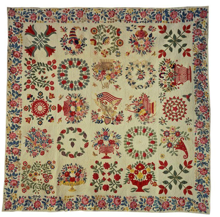 Appliqué Album Quilt, Baltimore, Maryland, 1848; cotton; 100 1/4 x 100 1/4 inches; Saint Louis Art Museum