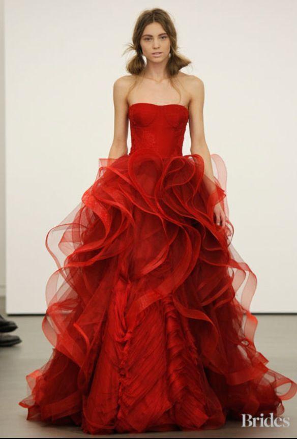 Fabulous Red Vera Wang Wedding Gown We Love Weddings Pinterest