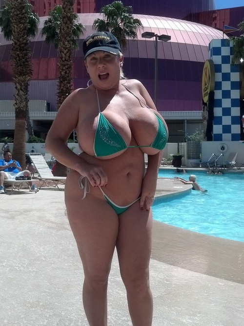 Heavy hangers in slingshot swimsuit hot girl big tits
