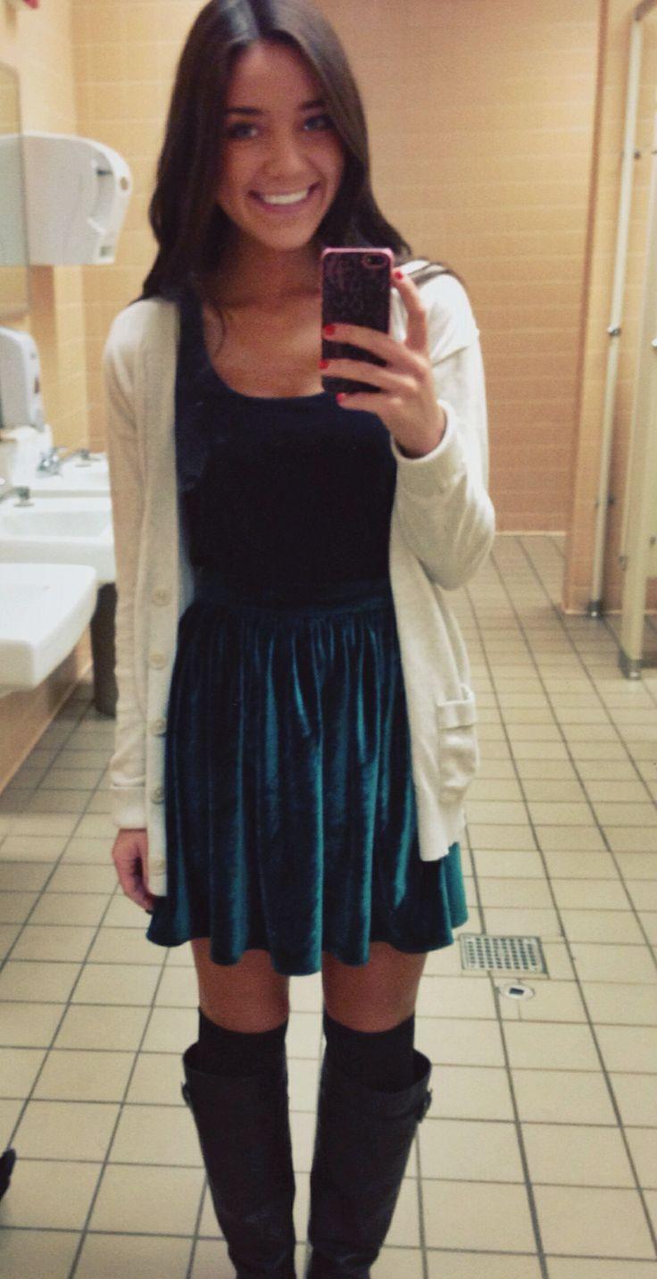 velvet skirt knee high boots velvet