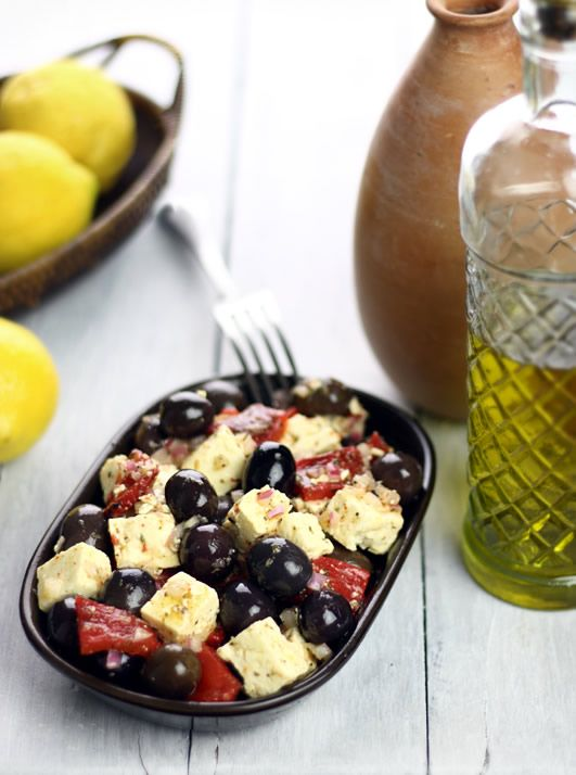 Marinated Pepper Salad With Garbanzos, Olives, And Feta Recipe ...