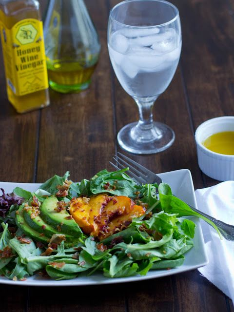 Grilled Peach Salad with avocado and a light and easy dressing ...
