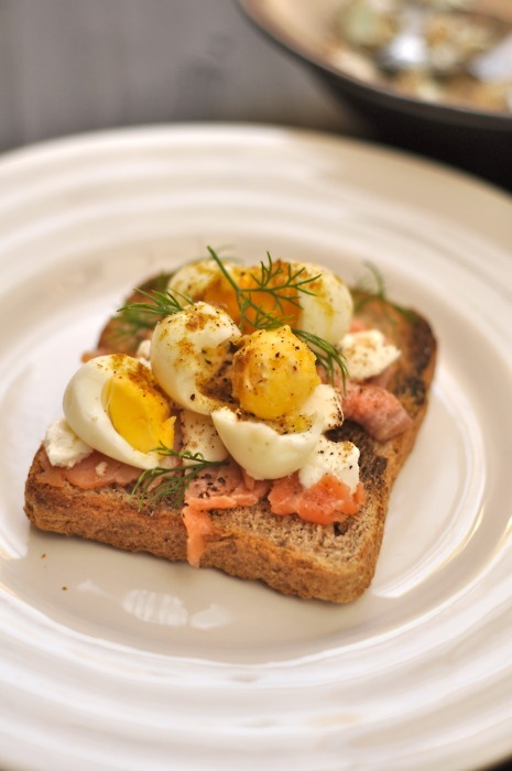 Smoked Salmon And Goat Cheese Toasts Recipe — Dishmaps
