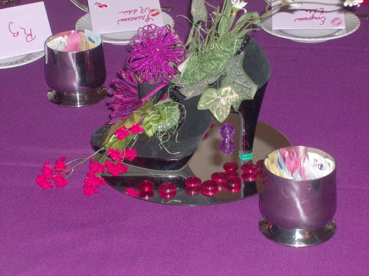 shoe centerpiece | Table Decor | Pinterest