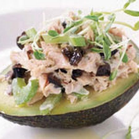 ... Avocado>> top with red onion bits, celery, and chopped green apple