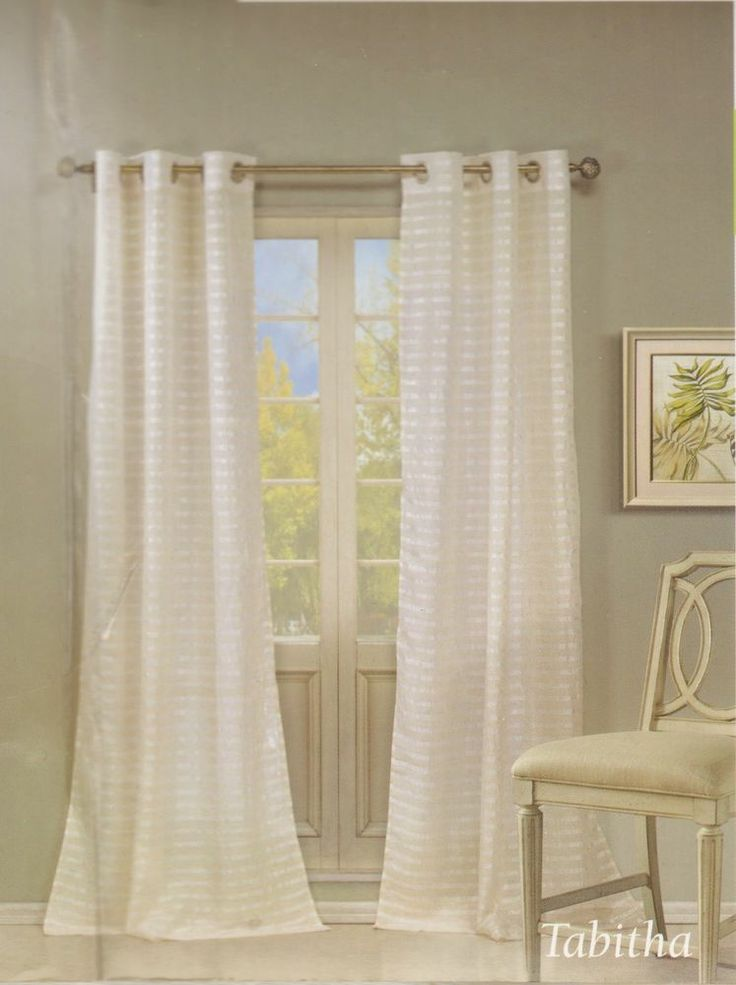 2pc window curtain sheer horizontal stripe linen quot tabitha quot off white