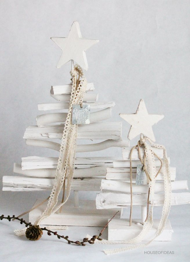 White Wooden Christmas Trees