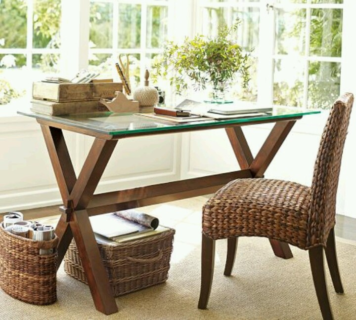 Home office desk chair pottery barn home decor ideas pinterest - Pottery barn office desk ...