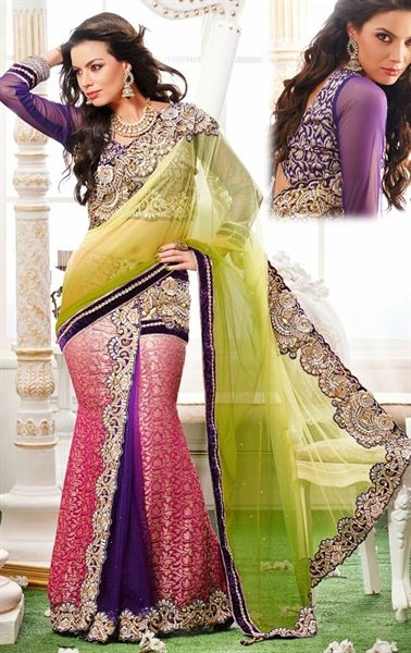 Picture of Amazing Shaded Mehendi Green and Pink and Purple Lehenga Style Saree