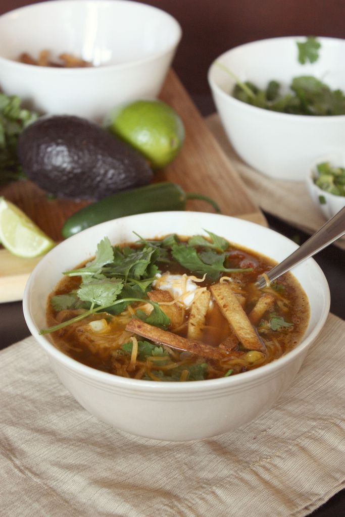 vegetarian tortilla soup and tortilla stips