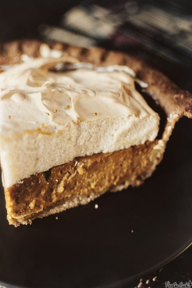 "Pumpkin Pie with Brown Sugar Meringue ~ via this blog, ""Pass the Sushi ..."