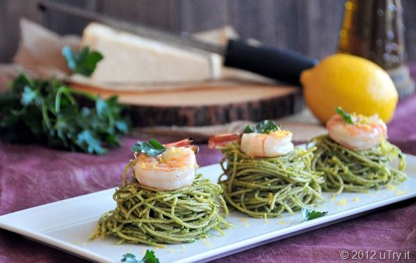 Spinach Pesto Spaghetti & Grilled Shrimp | From My Kitchen... | Pinte ...