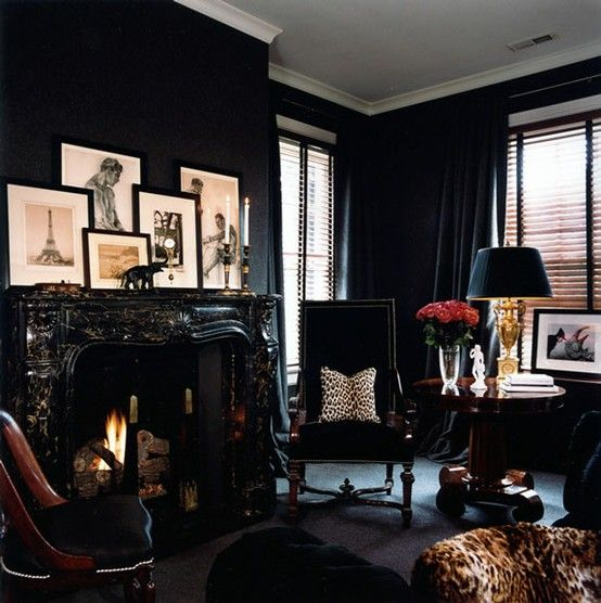 Black room - black mantle - white trim