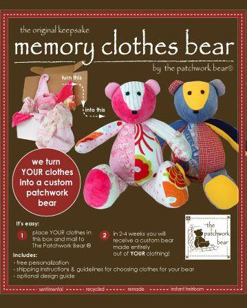 Keepsake Memory Clothes Bear GIFT KIT