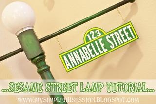 diy sesame street light pole first birthday sesame. Black Bedroom Furniture Sets. Home Design Ideas