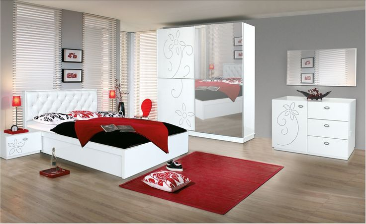 chambre a coucher rouge et gris chambre d cor pinterest. Black Bedroom Furniture Sets. Home Design Ideas