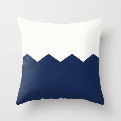 cream & navy Throw Pillow by Dani