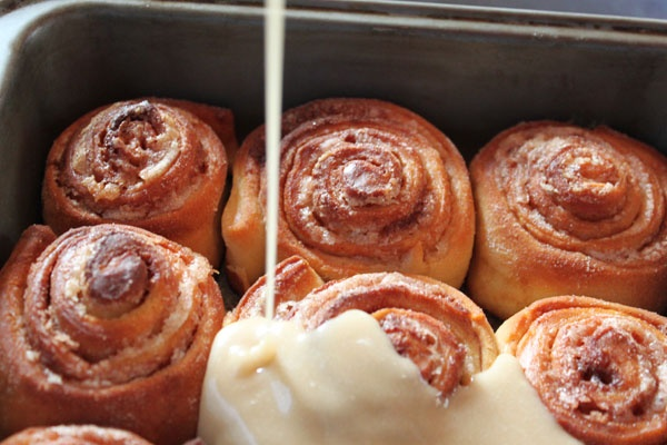 YUM! Cinnamon rolls drizzled with maple/coffee frosting!