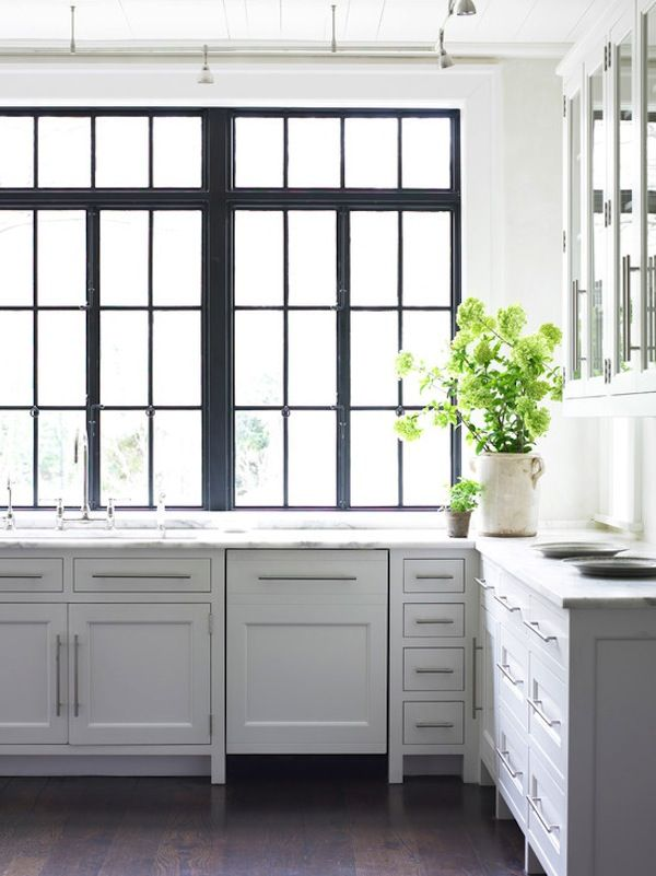 Black Window Mullions | Black Windows | Kitchen Design | Marble Countertop | Detail. Black Window Panes and White Kitchen Cabinets.