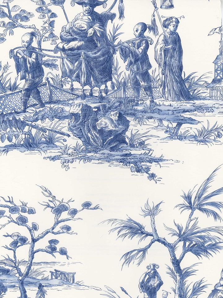 blue sh80502 asian toile wallpaper