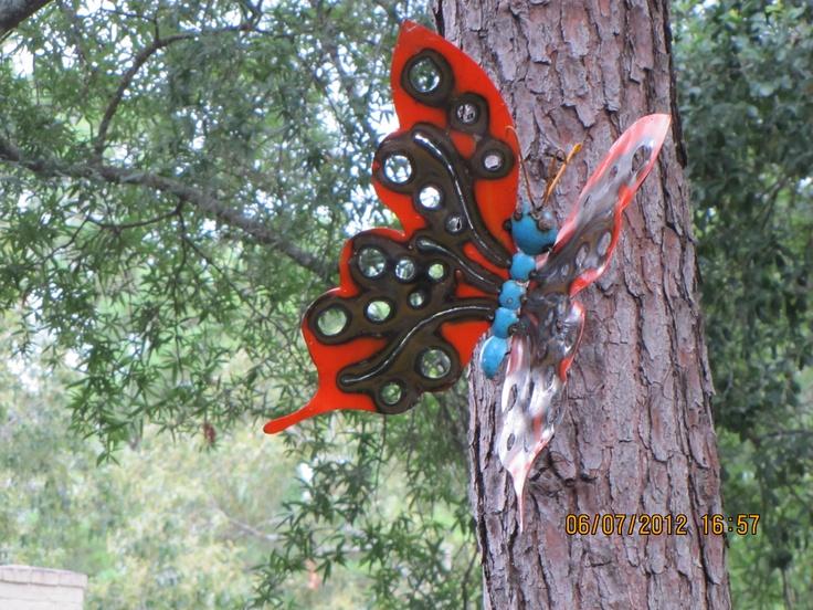 Butterfly yard art metal