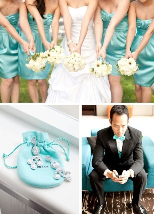 Tiffany Blue And Silver Wedding Dresses : Tiffany bridesmaids dresses silver ivory and