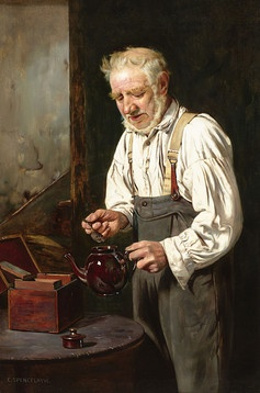 """Making the Tea"" by Charles Spencelayh"