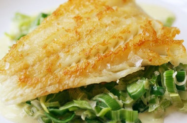 Crispy Cod Cooked 'Unilaterally' with Creamed Leeks — Punchfork